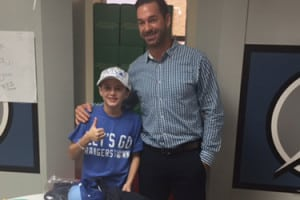 Casey Powell visits Luca Annunziata at Tampa General Hospital